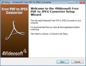 JPEGからPDFに変換するフリーソフト「4Videosoft Free PDF to JPEG Converter」インストールウィザード1