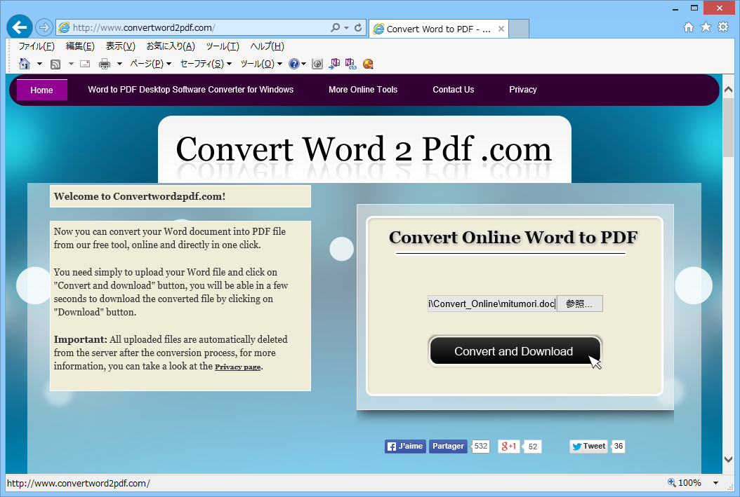 Convert Word to PDF(WordファイルからPDFへの変換)04